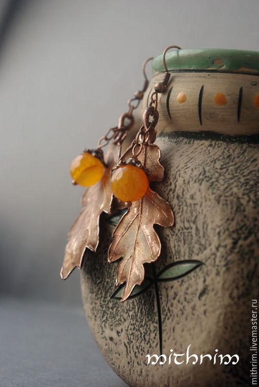 """Серьги ручной работы. Ярмарка Мастеров - ручная работа. Купить Серьги """"Дубовый лист"""". Handmade. Желтый, серьги листья"""