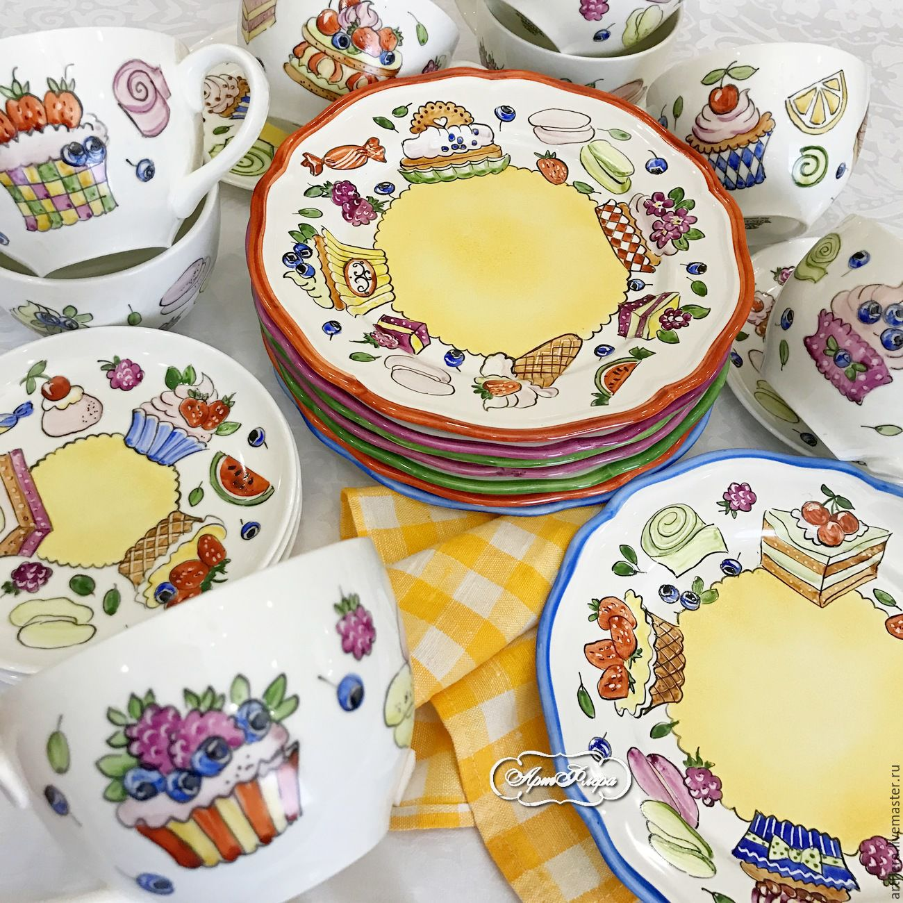 The painted porcelain.Plate porcelain 'In a candy store', Plates, Kazan,  Фото №1