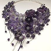 Украшения handmade. Livemaster - original item Amethyst Parfait. Necklace with removable floral decoration. Handmade.