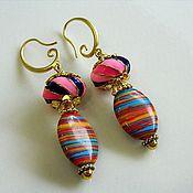 Украшения handmade. Livemaster - original item Earrings with multi-colored Jasper beads and European style charm. Handmade.