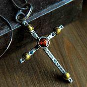 Украшения handmade. Livemaster - original item Pendant pendant silver cross, body cross, natural stones,. Handmade.