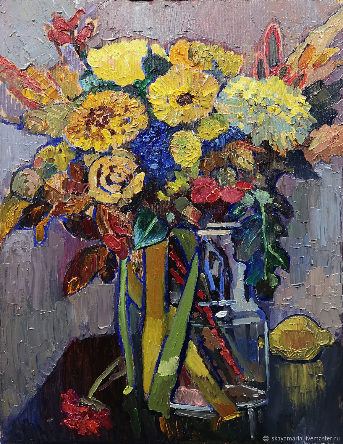 Large oil painting. bright bouquet. Golden chrysanthemum, Pictures, Moscow,  Фото №1