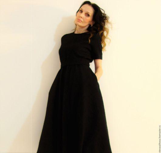 Платья ручной работы. Ярмарка Мастеров - ручная работа. Купить Платье из жаккарда Гламур Flora миди. Handmade. Черный
