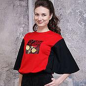 Футболки ручной работы. Ярмарка Мастеров - ручная работа Красная женская футболка Роза, черная футболка оверсайз, спорт-шик. Handmade.