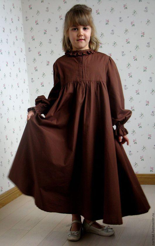 Одежда для девочек, ручной работы. Ярмарка Мастеров - ручная работа. Купить Платье из хлопка для девочки. Handmade. Коричневый
