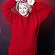 """Кофты и свитера ручной работы. Свитер """"красная роза"""". Шапошникова Наталья. Ярмарка Мастеров. На заказ, шерсть, женская одежда"""