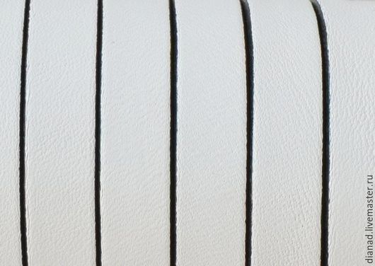 Для украшений ручной работы. Ярмарка Мастеров - ручная работа. Купить Кожаный шнур 10х2мм белый. Испания. Handmade.