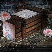 """Подарки к праздникам ручной работы. Ярмарка Мастеров - ручная работа Короб для вина """"Лепестки Роз"""".. Handmade."""