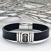 Украшения handmade. Livemaster - original item Career, goal achievement-bracelet with rune Tayvaz, silver, leather. Handmade.