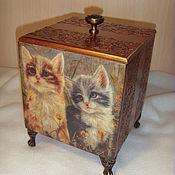 Для домашних животных, ручной работы. Ярмарка Мастеров - ручная работа Короб  деревянный декупаж коричневый цвет Нежный кошачий народ. Handmade.