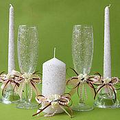 Свадебный салон ручной работы. Ярмарка Мастеров - ручная работа бокалы и свечи сладкая серия. Handmade.