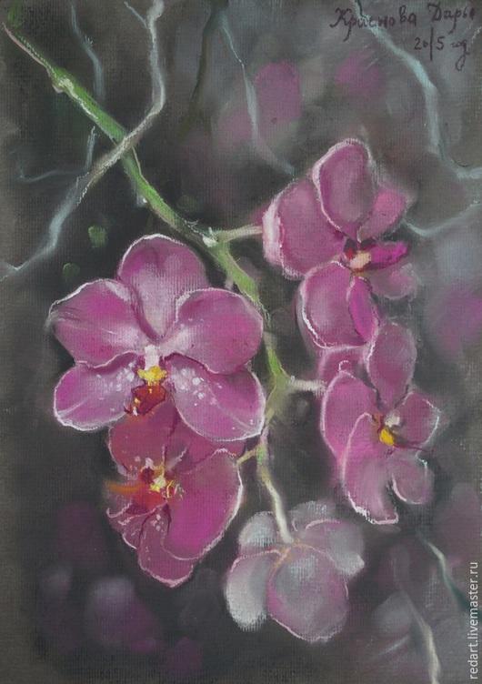 Картины цветов ручной работы. Ярмарка Мастеров - ручная работа. Купить Орхидея. Handmade. Фуксия, картина с цветами, цветы, орхидея