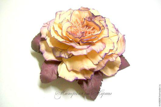 """Заколки ручной работы. Ярмарка Мастеров - ручная работа. Купить Роза из фоамирана.Заколка """"Лиловый закат"""". Handmade. Кремовый"""