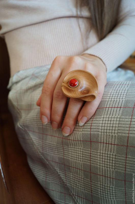 Кольца ручной работы. Ярмарка Мастеров - ручная работа. Купить Кольцо деревянное Капля Радости. Handmade. Коралловый, кольцо купить