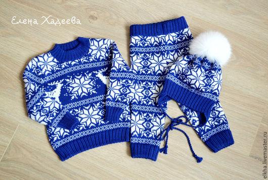 """Одежда для мальчиков, ручной работы. Ярмарка Мастеров - ручная работа. Купить Комплект для малыша  - """"Синий с белым"""". Handmade. Тёмно-синий"""