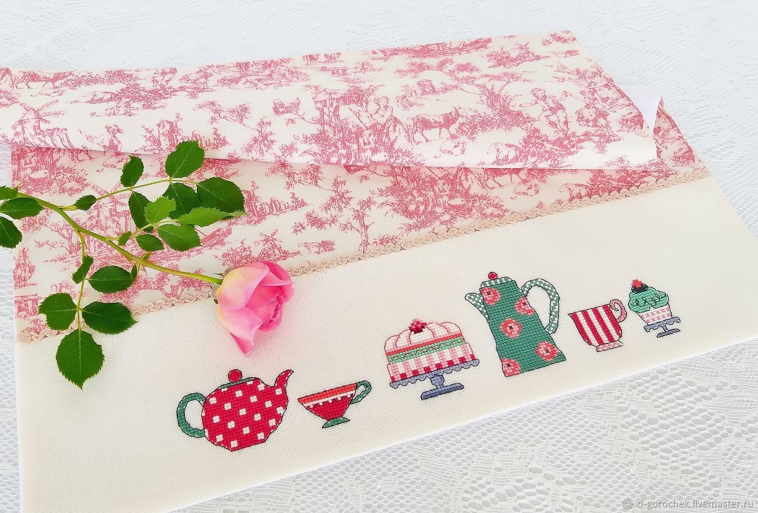 Napkin with hand embroidery ' Morning tea party', Swipe, Ekaterinburg,  Фото №1