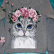 Одежда manualidades. Livemaster - hecho a mano Sudadera con capucha para niña Gato con flores pintadas a mano. Handmade.