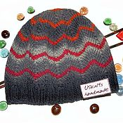 Аксессуары handmade. Livemaster - original item Knitted hat (beanie) with bold stripes. Handmade.