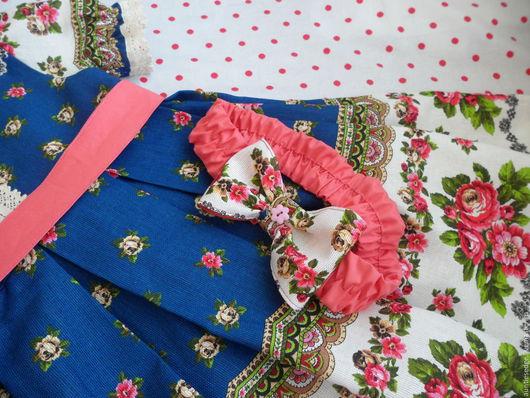 Одежда для девочек, ручной работы. Ярмарка Мастеров - ручная работа. Купить ПЛАТЬЕ для девочки в русском стиле Матрешка (синяя). Handmade.