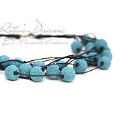 Украшения handmade. Livemaster - original item Beads sky Blue, waxed cord multi-row, blue, Indigo, lava. Handmade.