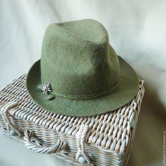 Шляпы ручной работы. Ярмарка Мастеров - ручная работа. Купить Эдельвейс ...Шляпка валяная. Handmade. Оливковый, валяная шляпка, эдельвейс