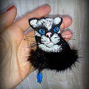 Украшения ручной работы. Ярмарка Мастеров - ручная работа Брошь текстильная кот. Handmade.