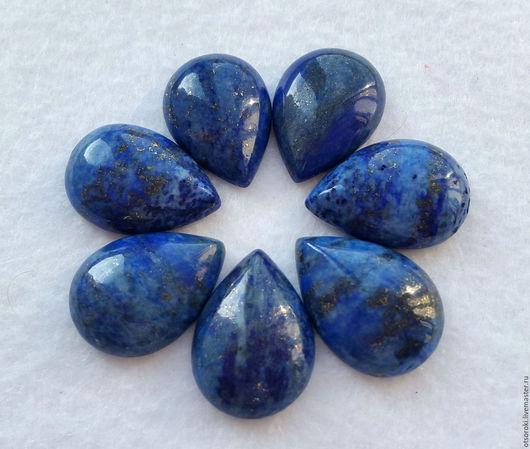 Каплевидные кабошоны лазурита:  голубые с белым и синие с белым