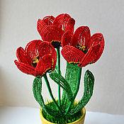 Цветы и флористика ручной работы. Ярмарка Мастеров - ручная работа Тюльпаны из бисера. Handmade.