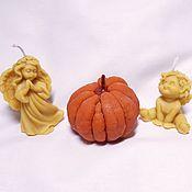 Свечи ручной работы. Ярмарка Мастеров - ручная работа Набор свечей с ангелами и очищенным мандарином. Handmade.