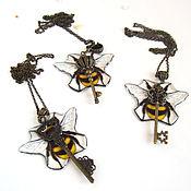 Украшения handmade. Livemaster - original item Transparent Key Pendant Yellow Black Bee Resin Jewelry Brass. Handmade.