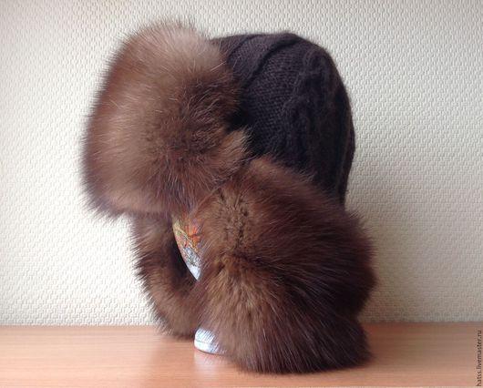 Шапки ручной работы. Ярмарка Мастеров - ручная работа. Купить Мужская шапка ушанка с мехом соболя.. Handmade. Черный