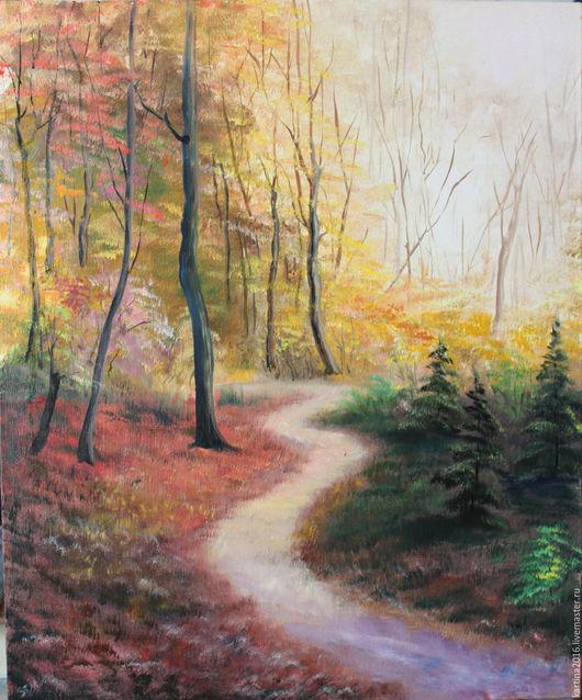 Пейзаж ручной работы. Ярмарка Мастеров - ручная работа. Купить Осенний лес. Handmade. Комбинированный, картина маслом, картина на холсте