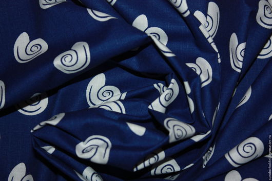 """Шитье ручной работы. Ярмарка Мастеров - ручная работа. Купить Хлопок """"Синие ракушки"""". Handmade. Комбинированный, хлопок для рукоделия, хлопок"""