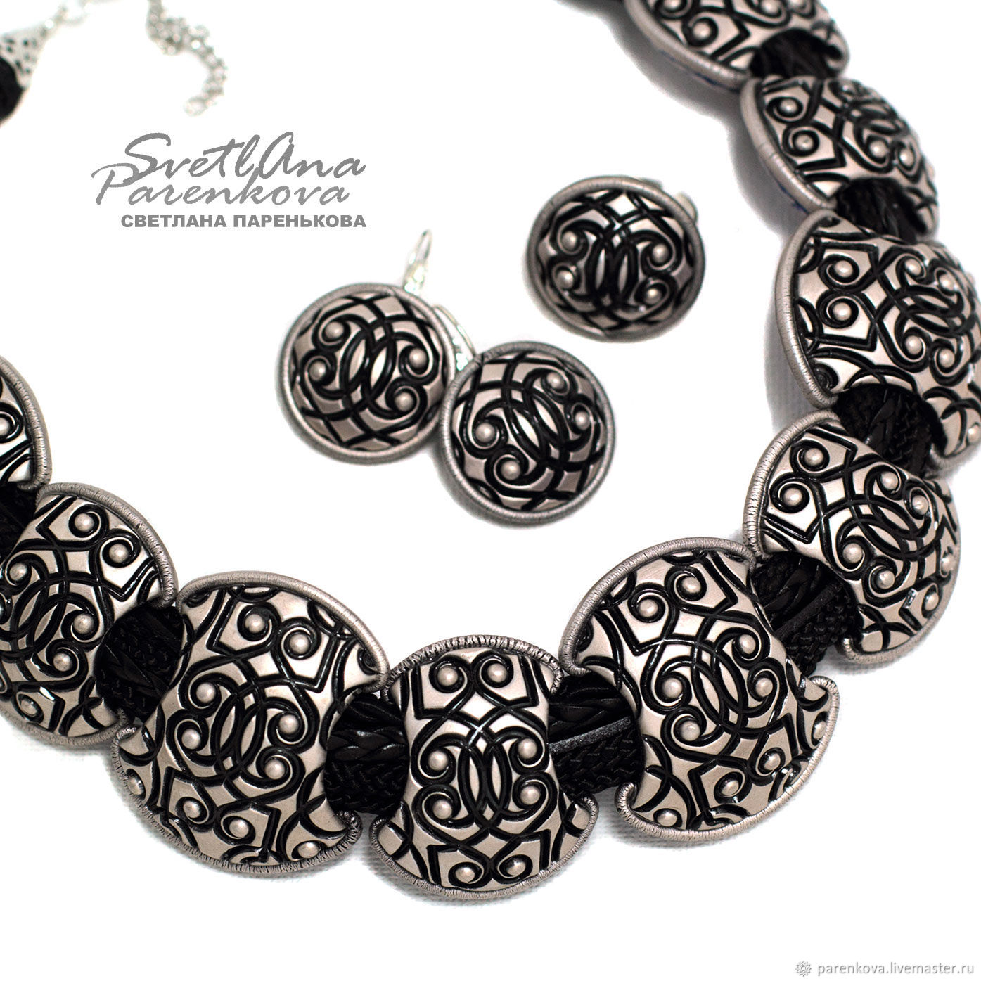 Set of polymer clay silver chic (482)(358), Necklace, Salavat,  Фото №1