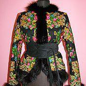 Куртки ручной работы. Ярмарка Мастеров - ручная работа Куртка из павлово-посадского платка с енотом. Handmade.