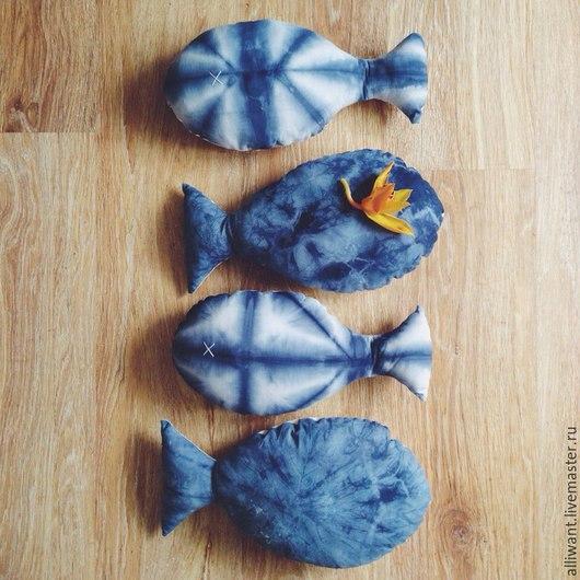 Текстиль, ковры ручной работы. Ярмарка Мастеров - ручная работа. Купить Подушка Рыбка. Handmade. Тёмно-синий, игрушка