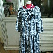 Одежда ручной работы. Ярмарка Мастеров - ручная работа распродажа платье из  хлопка цветы джинс 2. Handmade.