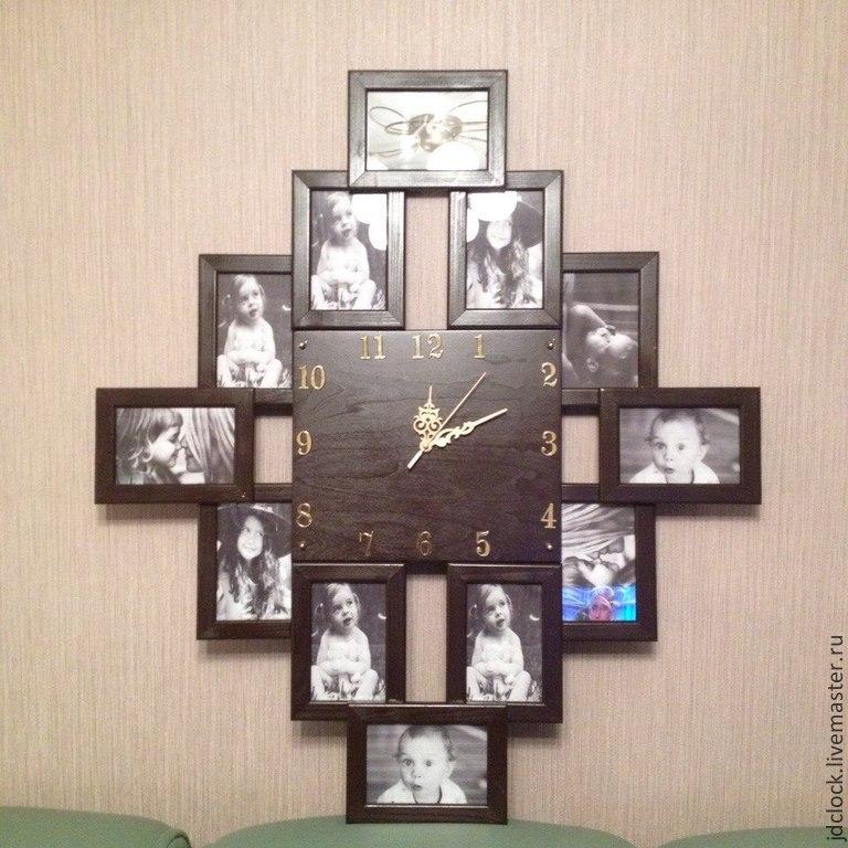 Настенные часы из фоторамок своими руками 497