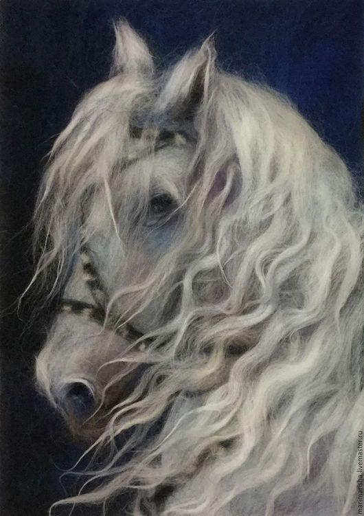Животные ручной работы. Ярмарка Мастеров - ручная работа. Купить Картина из шерсти Белый конь. Handmade. Белый, шерстяная акварель