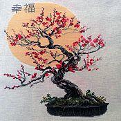 Картины и панно ручной работы. Ярмарка Мастеров - ручная работа Бонсай сакура вышитая картина. Handmade.