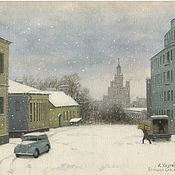 Картины и панно handmade. Livemaster - original item Posters in the room Moscow Big spasoglinishchevsky lane. Winter.. Handmade.