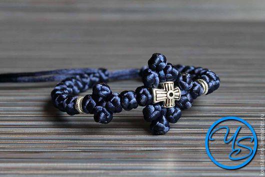 Четки ручной работы. Ярмарка Мастеров - ручная работа. Купить Брояница с плетеным крестом темно-синяя. Handmade. Тёмно-синий