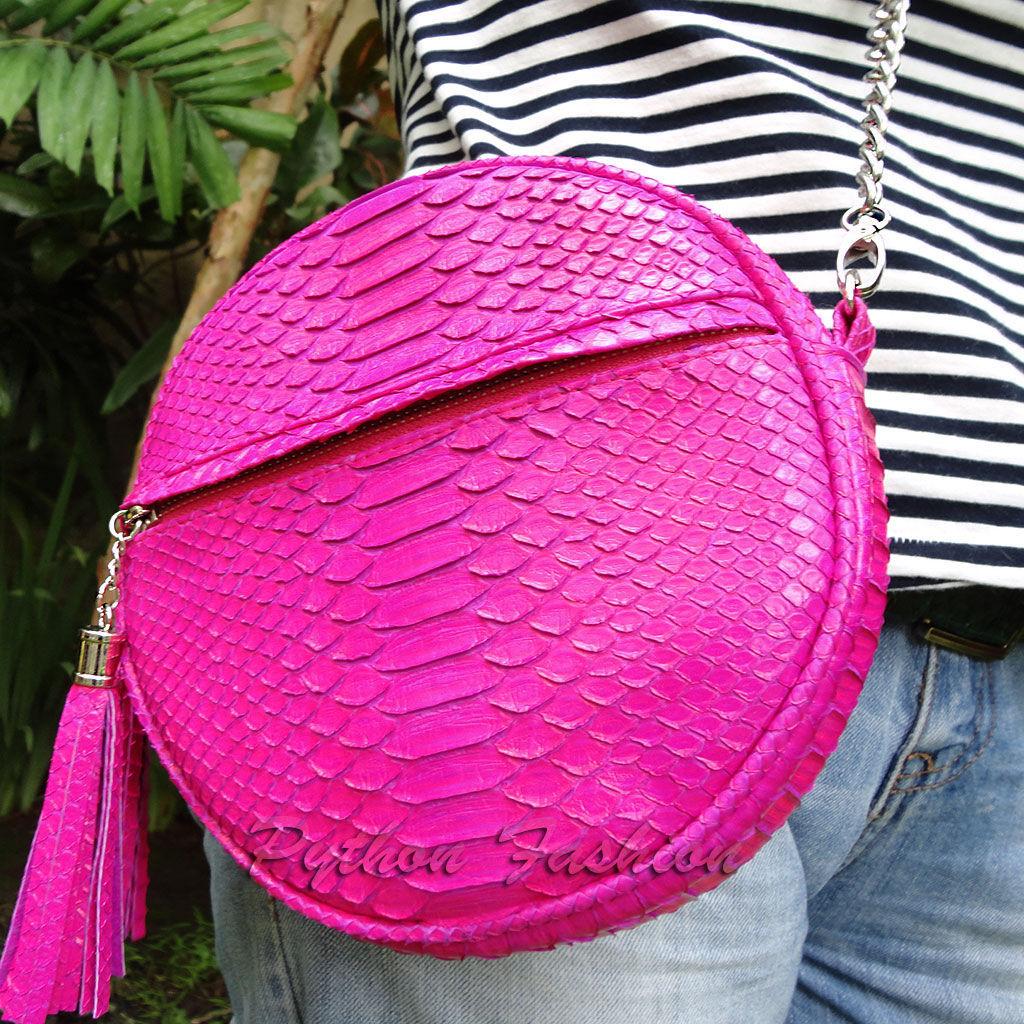 Summer handbag made of Python skin. Bright summer handbag on a long chain. Handbag crossbody from Python. Summer shoulder bag from Python. Fashion handbag made of Python for the summer. Stylish Python