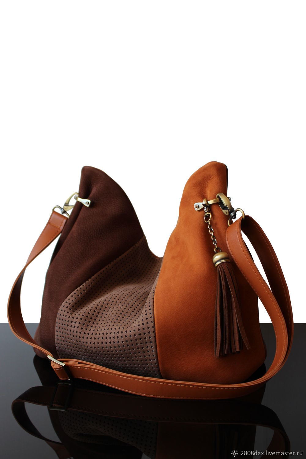 Fall-Winter Bag made of genuine leather in red-brown shades, Sacks, Bordeaux,  Фото №1