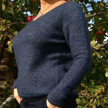 Одежда ручной работы. Ярмарка Мастеров - ручная работа Пуловер из вспушенного кашемира на шёлке. Handmade.
