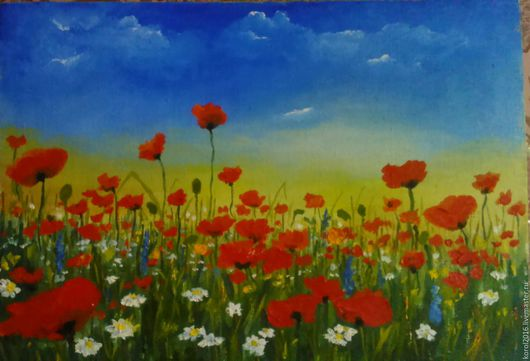 Картины цветов ручной работы. Ярмарка Мастеров - ручная работа. Купить красивые маки. Handmade. Ярко-красный, маки, цветы