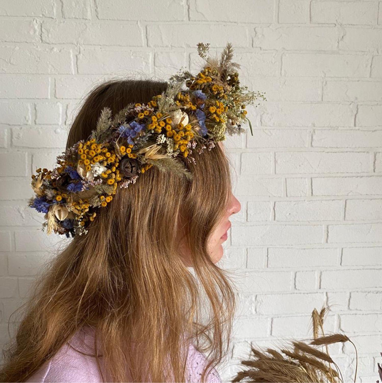 Венок на голову из сухоцветов на свадьбу или фотосессию, Комплекты головных уборов, Москва,  Фото №1