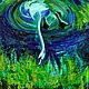 Животные ручной работы. Ярмарка Мастеров - ручная работа. Купить картина маслом Нырок. Handmade. Синий, пруд, картина для интерьера
