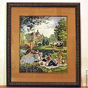 """Картины и панно ручной работы. Ярмарка Мастеров - ручная работа Вышивка крестом """" Пикник на берегу озера"""". Handmade."""