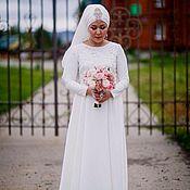 Свадебный салон ручной работы. Ярмарка Мастеров - ручная работа Свадебное платье с золотистым кружевом. Handmade.